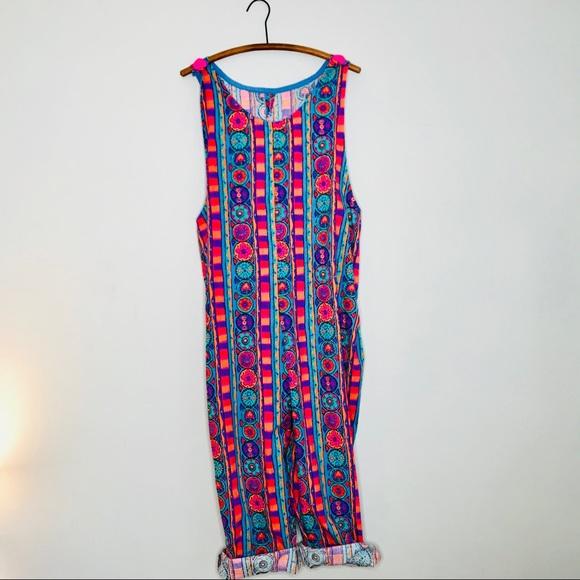 00a925f68bc9 Vintage Retro 80 s Cotton Patterned Jumpsuit. M 5b5a0c3d10fc5442fdaaf004